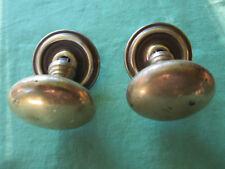 2 gros boutons poignée ronds rosaces ancien laiton tiroirs porte diamètre 5,4 cm