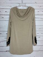 Soma Women's S Small Tan Black Lace Soft Knit Fall Winter Cute Tunic Top Shirt
