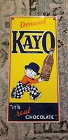 VINTAGE Porcelain Enamel Kayo Chocolate Drink Sign 8 x 17