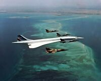 New 8x10 Photo: Supersonic Concorde Flies in Formation Flight with Fighter Jets