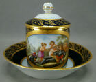 KPM Berlin Hand Painted Oberon King of the Fairies Cobalt Gold Covered Cup C1800