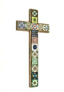 60cm Large Talavera cross Mexican wall hanging decoration cross crucifix