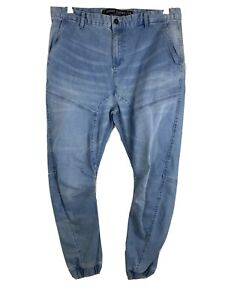 Factorie Size 38 Mens Jeans Denim Cuff Skinny The Rager Light Blue Jogger