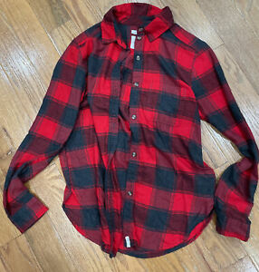 American Eagle Womens Size XS Red Boyfriend Fit Ahh-Mazingly Soft Flannel Shirt