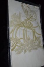"""Vintage Paper Table Cover Cream/Gold Gift/Present Butterfly 52"""" x 96"""" NOS"""