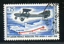 STAMP / TIMBRE FRANCE OBLITERE N° 1565 1° LIAISON POSTAL EN AVION LE MANS