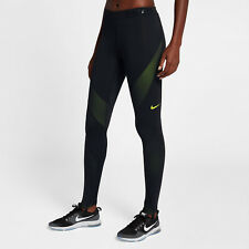 Nike Pro HyperWarm Women's Training Tights M Black Volt Gym Casual Running New