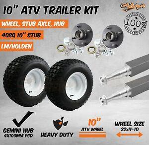 """10"""" ATV RIM & TYRE HUB 40MM STUB AXLE WHEEL KIT QUAD BIKE MOWER TRAILER FARM"""