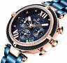 RW Damen Armband Uhr Blau Rose Gold Farben Chronograph Datumsanzeige