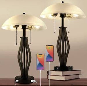 Bedside Lamp Set Of 2, USB Ports, White and Warm Lights.