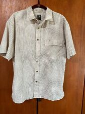 AIGLE CASUAL MENS SHORT SLEEVE SHIRT button front cream and brown plaid. Sz L