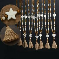Women's Boho Star Tassel Pendant Necklaces Long Chain Sweater Necklace Jewelry