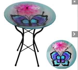 46x46cm Blue Butterfly Design - Glass Bird Feeder