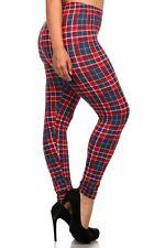Black Blue Beige Red PLAID leggings pants Polyester Juniors PLUS 1X 2X 3X 4X