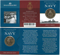 2001 90th Anniversary of the Royal Australian Navy $1 Coin & Card:Unc