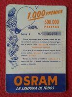 SPAIN CALENDARIO CALENDAR 1956 OSRAM BOMBILLA LIGHTBULB LUZ ELÉCTRICA AMPOULE...