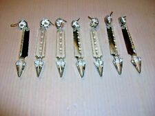 """New listing Antique 7 French Cut 4 1/2"""" Crystal Icicle Prisms Jeweled Spear Chandelier"""