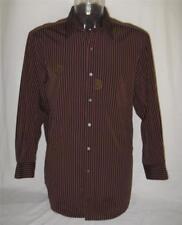 DKNY Mens L/S Casual Shirt Sz XXL 2XL Embroidered Black Burgandy Stripe Free Shp