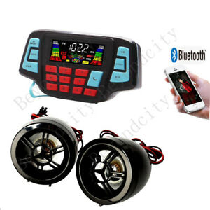 ATV, UTV Speakers USB Audio System Stereo Waterproof Bluetooth black