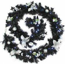 Pre-Lit Decorated Garland with Ice White LED Lights Black Silver 9 Feet 2.7M New