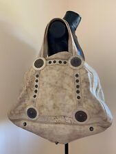 GALLIANO RUSTIC LEATHER OVERNIGHT DUFFLE BAG w/ PIRATE SCULL METAL ACCENT. RARE