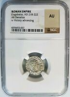 Elagabalus Roman Empire 218-222 Silver NGC AU Denarius Victory Advancing Ancient