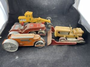 VINTAGE HUBLEY GRADER BULLDOZER AND 2 ROAD ROLLERS AS FOUND