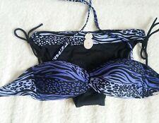 La Senza Black/Purple Zebra/Leopard Strapless Bikini 30D/8~NWT