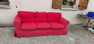 Canapé 3 places Ikea Ektorp en tissu, rouge noir ou blanc, 2,18 m. x 0,88 m.