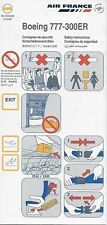 AIR FRANCE - (SKYTEAM) - BOEING 777-300ER - 01/2008 - SAFETY CARD - CONSIGNES
