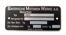 BMW E10 Typenschild blanko f.  1502 - 2002 Turbo e3 e9 NK  / für e21 bis 10/81