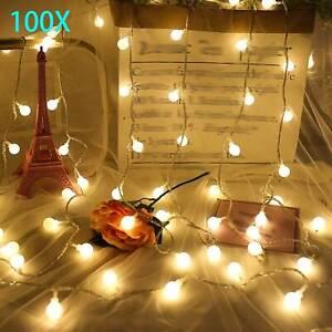 33ft 100 Warm White LED Electric Globe Ball Lamp Outside Garden String Lights