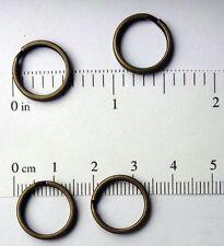 "4 Key Rings 15mm Approx 5/8"" Split Ring ANTIQUE BRASS Finish Steel Findings"