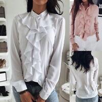 Women Ruffle Tops Long Sleeve Casual Career Blouse High Collar Shirt NEW NG20