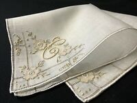 "#6652🌟Vintage 30s CUTTER Dusty Dijon Madeira Monogram ""C"" Wedding Handkerchief"