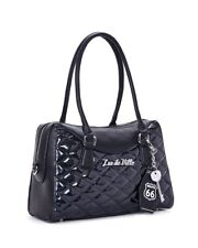 Lux De Ville Route 66 Handbag Black Sparkle Rockabilly Pyschobilly Handbag Goth