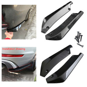 2x Polished Car Rear Bumper Lip Diffuser Splitter Canard Protector Accessories