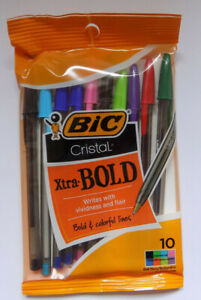 10 BiC Xtra BOLD Ball Pens - 8 Different Colours - Free Delivery
