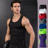 Mens Workout Compression Slim Tight Fitness Basketball Running Tops Vests Tee