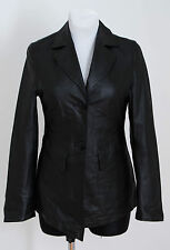 WOMENS BIG.L JACKET BLAZER 100 % GENUINE LEATHER BLACK FITTED SIZE XS XSMALL