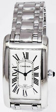 Cartier Tank Americaine Large 18k White Gold Automatic Mens Watch 1741