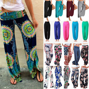 Womens Wide Leg Boho Floral Trousers Hippie Gypsy Dance Flare Long Pants Palazzo