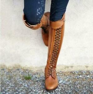 New Womens Boots Knee High Stacked Heels Leather Tall Riding boots Lace Up Shoes