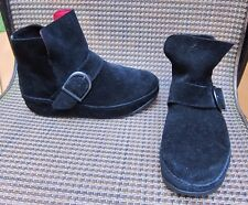 Women's Fitflop Dash Suede Black Ankle Boot Size US 6 M Side Buckle WoobleBoard