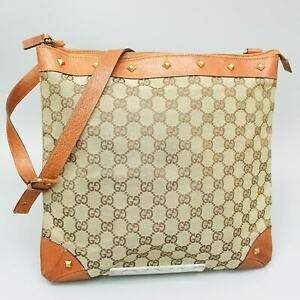 GUCCI GG Pattern Canvas Crossbody Shoulder Bag Purse Brown Beige 120894 002046