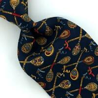 Salvatore Ferragamo Tie Ribbon Holder Navy Red Gold Luxury Necktie Silk Ties L8