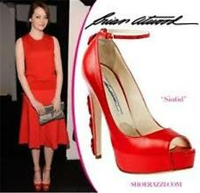 Brian Atwood SINFUL Ankle Strap Peep Toe Platform Buckle Heel Pumps Shoes Red 39