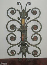 Antique Wrought Iron Wall  Sconce Hand Painted Flowers 1 Light