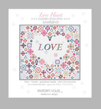 LOVE HEART COUNTED CROSS STITCH KIT by RIVERDRIFT HOUSE
