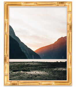 11x14 Gold Bamboo Wood Picture Frame - With Acrylic Front and Foam Board Backing
